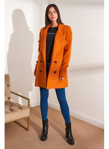 Setre Ekru Kuşaklı Uzun Kol Diz Üstü Boy Kaban Oranj